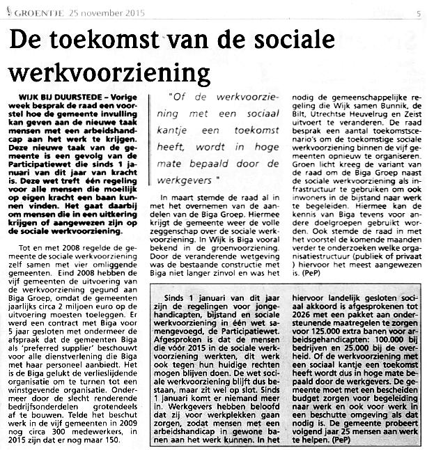 De toekomst van de sociale werkvoorziening 25-11-15
